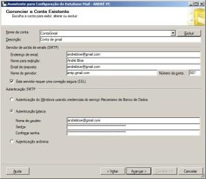 Quarto passo para configurar o database mail do sql server