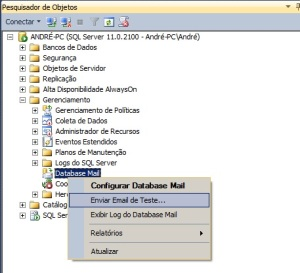 Enviar e-mail de teste no sql server