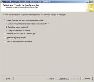 Segundo passo para configurar o database mail do sql server