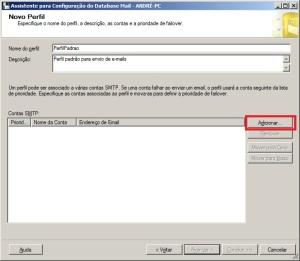 Terceiro passo para configurar o database mail do sql server