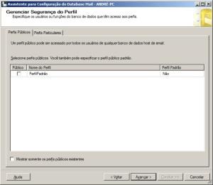 Quinto passo para configurar o database mail do sql server