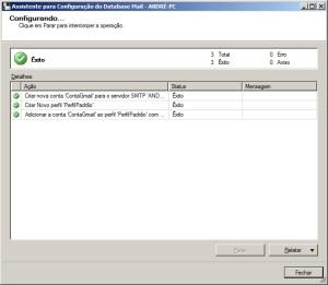 Concluindo configuração do database mail do sql server