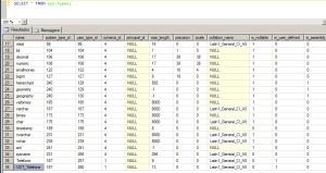 Lista com os tipo de dados criados no sql server